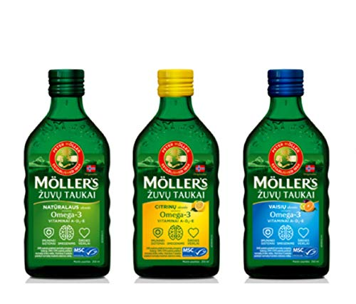 Moller Omega 3 Liver Oil Nordic Omega 3 6 9 Dietary Supplement with EPA, DHA, Vitamin A, D, E Superior Taste Award High…
