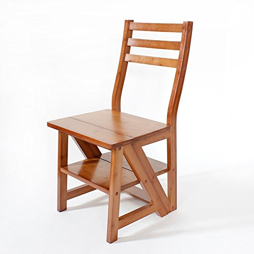 Multifunctional chair / staircase chair / solid wood folding ladder / dining chair ( Color : A ) by Xin-stool