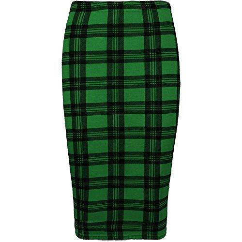 Neuf pour femme Comic Lopard Tte de mort Rose  rayures tartan bodycon Midi jupes Taille 8C22 Green Tartan