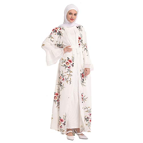 Women Muslim Cardigan Flowy Open Front Abaya Maxi Cover up Bell Sleeve Kaftan Kimono Loose Robes Nightwear White
