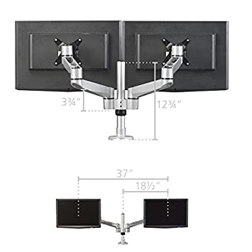 RightAngle HS1221 Hover Series Dual Mount Monitor Arm, Monitor Stand