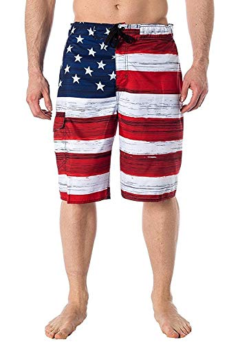 North 15 Mens USA American Flag Swim Trunk Boardshorts with Cargo Pokcet