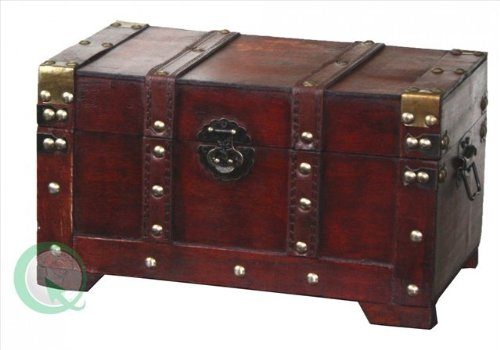 Vintiquewise(TM) Antique Style Wooden Trunk, Small