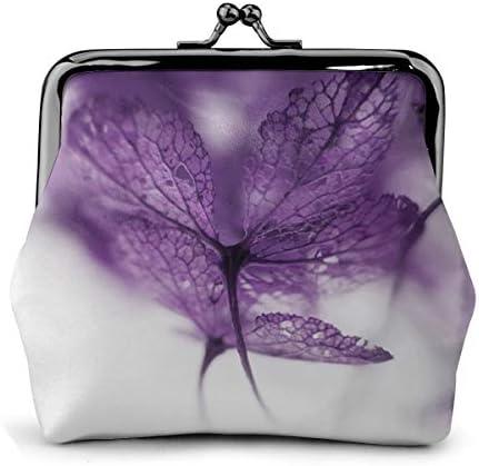 ホワイトサン がま口 財布 小銭入れ 紫の花 11.5cm×10.5cm×3cm レザー 小物入れ コインケース