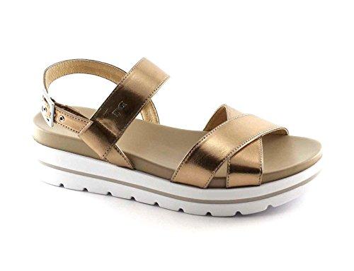 NEGRO JARDINES 17801 laminado de oro zapatos plataforma de la mujer sandalias de la hebilla de cuero Metalizzato