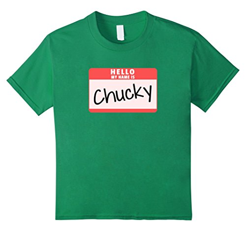 Kids Hello My Name is Chucky Funny Halloween Chucky Costume Shirt 10 Kelly Green (Chucky Halloween Costume Kids)