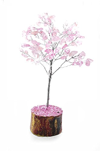 artz Natural Stone Feng Shui Bonsai Money Tree for Chakra Balancing Good Luck EMF Protection Healing Table Décor Health Prosperity Size 7-8 inch (Silver Wire) ()