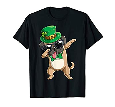 Dabbing Pug St Patricks Day T shirt Boys Leprechaun Dog Dab