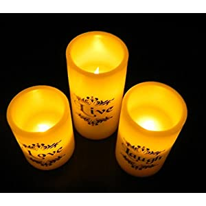 EGI - Set of 3 Flickering Flameless Candles With Remote Control and Timer - Romantic Led Candles - With Live, Love, Laugh Decal - Made With Real Wax
