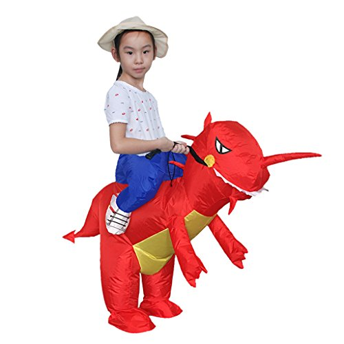 MonkeyJack Inflatable Red Dragon Fancy Dress Costume Dinosaur Hen Stag Party Outfit w/ Hat - Kid (Kids Constumes)