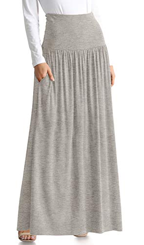 Heather Grey Maxi Skirt Long Grey Skirt Reg and Plus Size High Waisted Skirt Ankle Length Skirt Long Skirts for Women (Size XX-Large US 14-16, H Grey Ankle-Length)