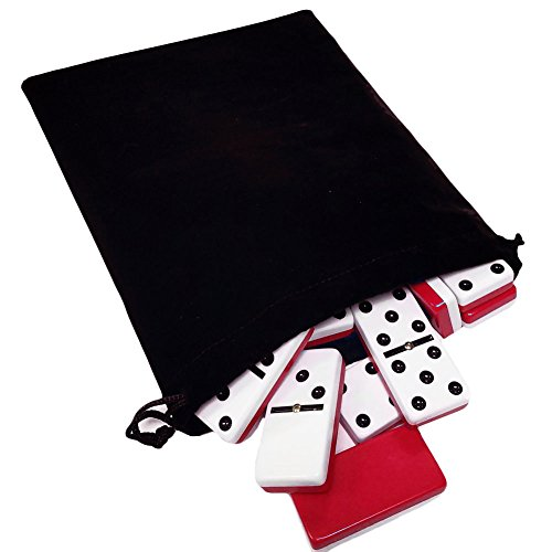 Domino Double Six 6 Two Tone Red and White Tiles Jumbo Tournament Professional Size with Spinners in Black Elegant Velvet - Spinner Domino Game