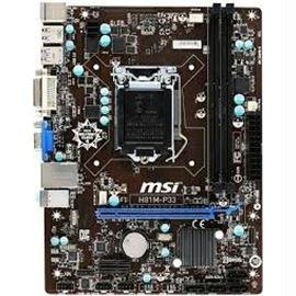 MSI Motherboard H81M-P33 Core i7 H81 LGA1150 DDR3 SATA PCI Express USB/VGA/DVI microATX Electronic Consumer Electronics
