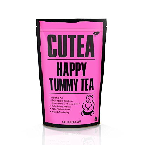 CUTEA Happy Tummy Tea, 28 Tea Bags: Enhance and Aid Digestive System, Eliminate Stomachache, and Reduce Bloating with Natural Antioxidant Rich Herbs