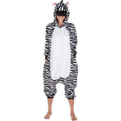 Adult Onesies Kigurumi Cosplay Costume: Zebra Animal Onesie Furries Pajamas & Hood for Men & Women (Small, (Zebra Costumes For Adults)