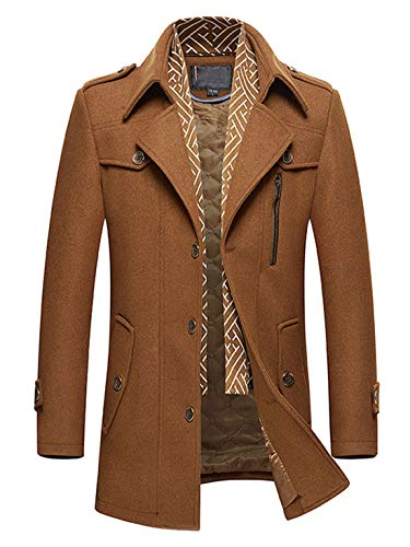 (Chartou Men's Classic Notched Collar Single Breasted Military Wool Blend Peacoat with Scarf (Tan,)