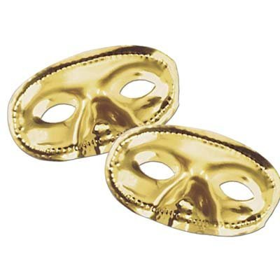 Beistle Party Decoration Metallic Half Mask - Gold- Pack of 24