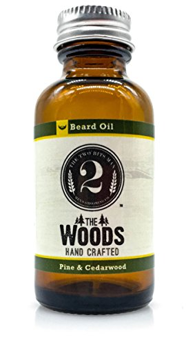 The 2 Bits Man Premium Beard Oil for Men - The Woods Man - Best Natural Leave in Conditioner and Softener for Your Beard and Skin - Relieves Beard Itch - Handmade in the USA - Scented with Essential Oil Cedarwood & Pine - 1oz. Bottle - Satisfaction Guarenteed