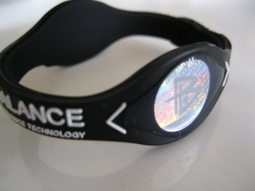 Power Balance Silicone Wristband Bracelet Small Black W/White Letters