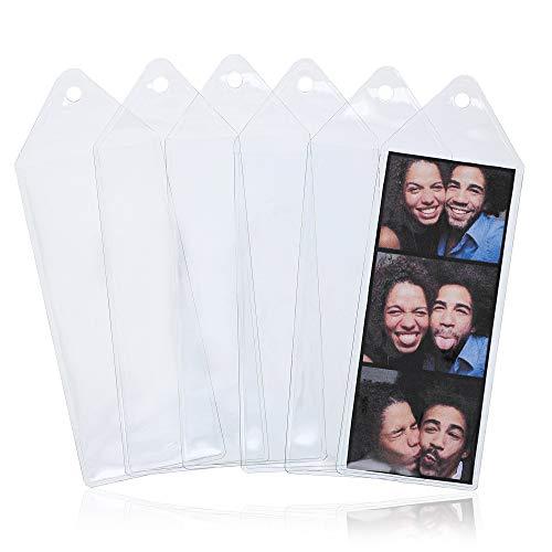 JUVALE 사진 스트립 북마크 60 팩 투명 비닐 2X4.8 인치 사진에 적합
