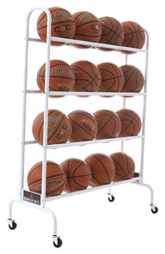 BSN Sports 16 Ball Cart Wide Base (16 Balls), White