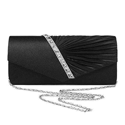 Events Clutch Navigatee Handbag Inlaid Evening Fancy Purse Twill for Wedding Prom Women's Crossbody Party Black Party Rhinestone Bag n1rngaH