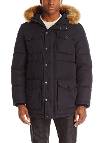 Tommy Hilfiger Mens Outerwear Micro Twill Full Length Hooded Parka, Black, Large