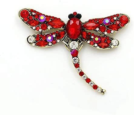 Amazon.com: Crystal Brooch Pins - New Arrival! Crystal Dragonfly Brooches for Women Large Insect Brooch Pin Girls Dress Coat Clothing Jewelry Accessories-Red