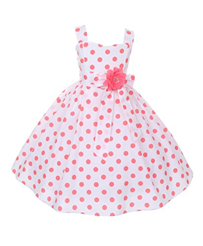 Cinderella-Couture-Little-Girls-Polka-Dotted-Rockabilly-Dress-Coral-1112