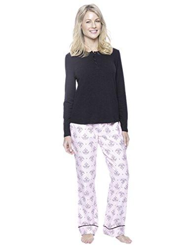 Women's Cotton Flannel/Thermal Lounge Set - Fleur Pink/Black - 2XL
