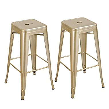 ELEGAN Glossy Finish 30 Inches Tolix Style Stackable Metal Bar Stools - Set of 2