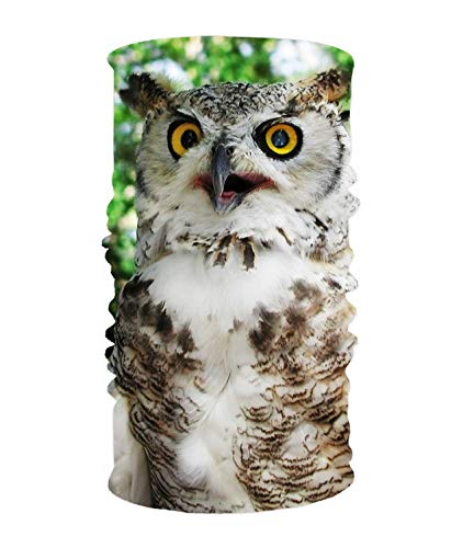 Headband Animal Great Horned Owl Birds Hoot Hooter Sweatband Tube Mask for Riding, Off Roader, Biker, Yoga