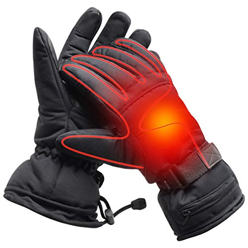 Men Electric Heated Gloves Windproof Winter Warm 3.7V Rechargeable Battery Operated Heated Gloves for Men Women Perfect for Indoor Outdoor Activities Fishing/Hiking/Sleeping(Black-with Button)
