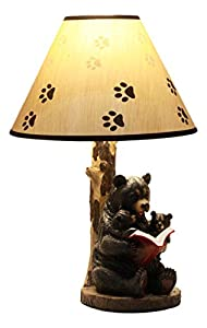 Ebros Bedtime Story Mama Bear Reading to Baby Bears Table Lamp Statue Desktop Decor with Printed Paw Shade
