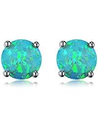 18K White Gold Plated Opal Stud Earrings