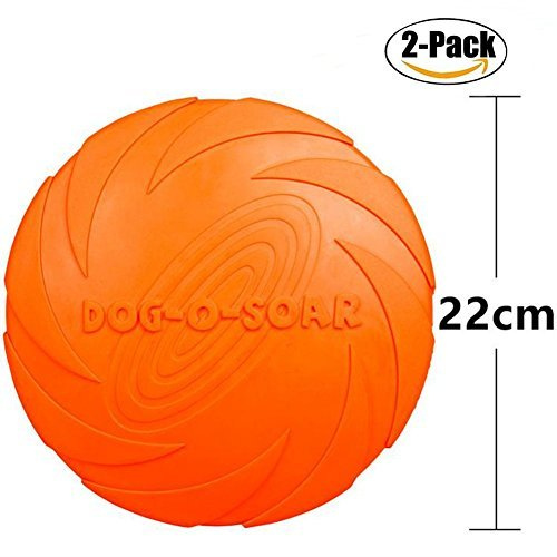 Maikerry Dog Frisbee (2-Pack) Rubber Flyer Dog Flying Disc Dog Toys Best Rubber --100% Natural Non-toxic Assorted Colors (Large, Orange)