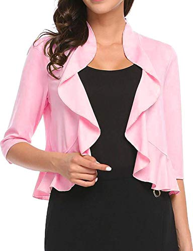 Women's Open Front Cropped Cardigan 3/4 Sleeve Casual Shrugs Jacket Draped Ruffles Lightweight Sweaters (Pink, XX-Large)