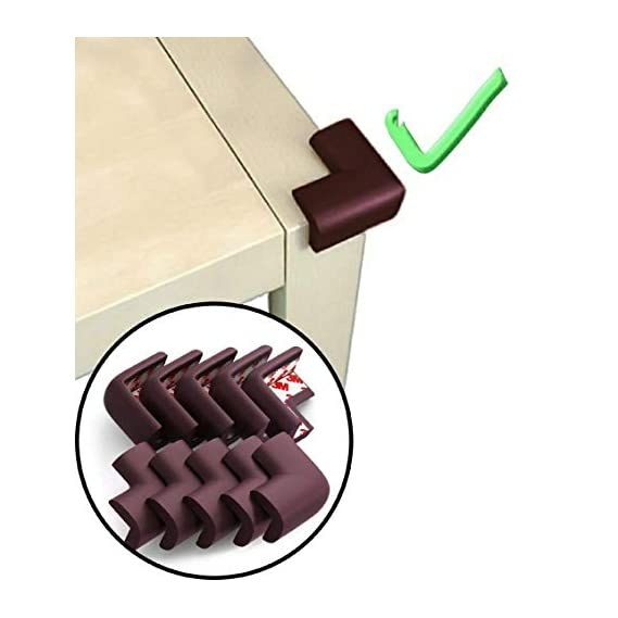 KidDough Baby Proofing Extra Thick Safety Soft Cushion Edge Corner Protector Guard for Kids (Brown) - 10 pcs (Pre-Taped)