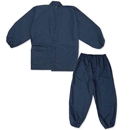 wasuian Men's Samue Working Clothes Samue Multi Function Sleeve Hem Rubber Type LL Dark Navy