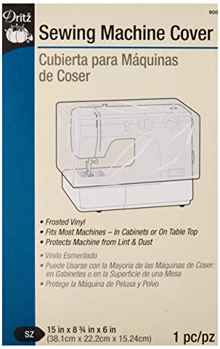 Great Deal! Dritz 900 Dust Cover for Sewing Machine, 15 x 8-3/4 x 6, Frosted Vinyl