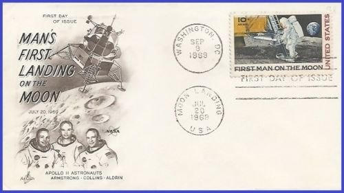 US C76 First Day Cover - First Man on the Moon stamp by Artcraft (Apollo 11)