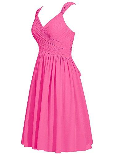 Party Kleider Chiffon Brautjungferkleider Damen Wedding Black Kurz Hot Pink Straps Fanciest nxPYgAqSq