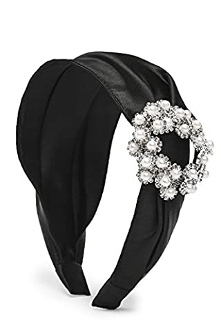 Flapper Headpiece 1920s Satin Covered Alice Band Wide Plastic Headband With Brooch (Black)