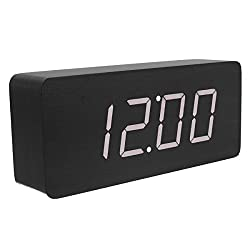 KABB Wooden Digital Clock, 8-Inches Natural Black Wood Grain White LED Light Alarm Clock with Time Date Temperature Display and Acoustic Control Functions for Office and Home Decoration