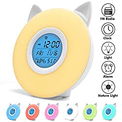 Lvssci Alarm Clock for Kids Cute cat Wake Up Light,Digital Nature Smart Night Lamp Clock Sunrise Colorful Light with Nature Sounds and FM Radio, 4 Music Sound, Temperature and Humidity Display