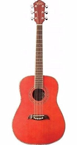 Oscar Schmidt OGHS-TR 1/2 Size Dreadnought Acoustic Guitar - Transparent Red