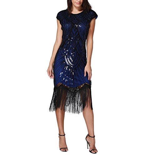 Huhu833 Abend Kleid Damen Quaste Prom Kleider Perlen Pailletten Art ...