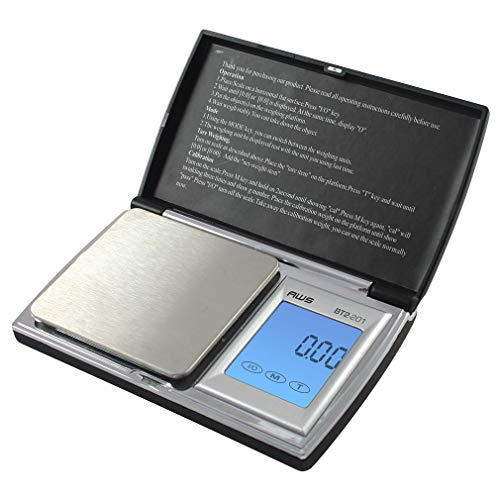 American Weigh Scales BT2 Series Digital Gram Pocket Weight Scale, Black, 200 X 0.01G (AMW-BT2-201)