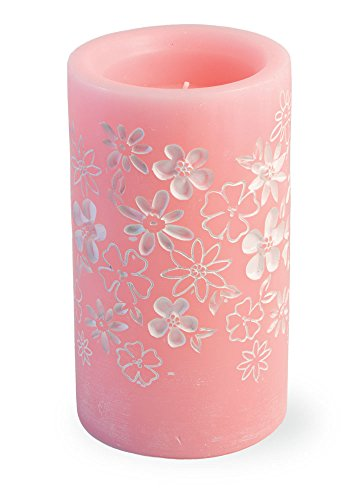 Boston International Flameless Wax LED Candle with Flower Accents, 3.25 x 5.75-Inches, -