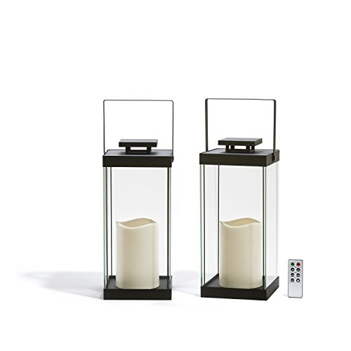 "Large Glass Flameless Candle Lanterns, 14.5"" Height, Warm White LEDs, Black Metal Finish, Indoor/Outdoor Use, Remote & Batteries Included - Set of 2"